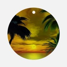 Tropical sunset Round Ornament