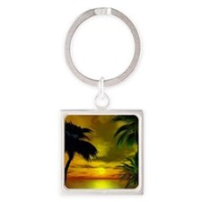 Tropical sunset Square Keychain