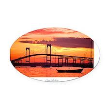 Newport-Bridge Oval Car Magnet