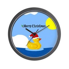 Merry Christmas from Rubber Ducky Wall Clock