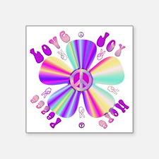 "Pastel Peace Sign Square Sticker 3"" x 3"""