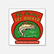 """Trout jumping fly fishing Square Sticker 3"""" x 3"""""""
