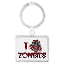 i heart zombies Landscape Keychain