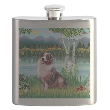 Birches - Australian Shepherd (merle 1) Flask