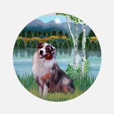 Birches - Australian Shepherd (merl Round Ornament