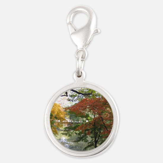 Fall Silver Round Charm