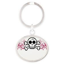 borntocraft-blk Oval Keychain