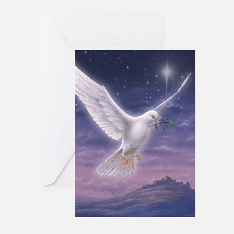 White Dove over Bethlehem Greeting Cards (Pk of 10