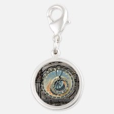 astronomical clock Silver Round Charm