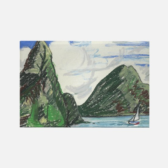 Gros and petit petons st lucia Rectangle Magnet