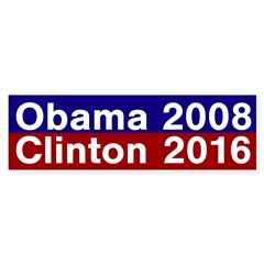 Obama 2008, Clinton 2016 bumper sticker