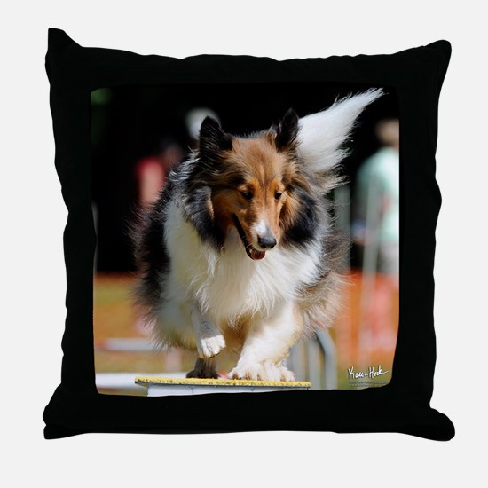 Shetland Sheedog Agility Beau Throw Pillow