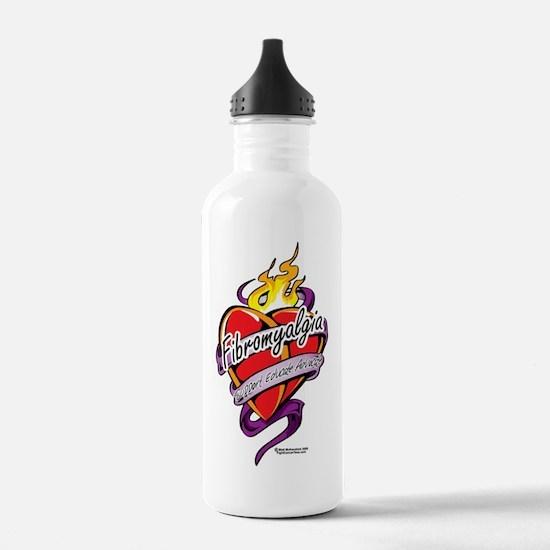 Fibromyalgia-Tattoo-He Sports Water Bottle