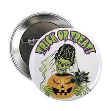 """Bride of Frankenstein Skull 2.25"""" Button"""