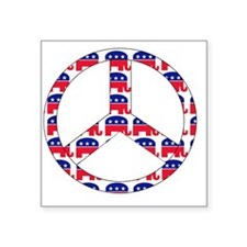 "republican peace sign Square Sticker 3"" x 3"""
