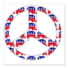 "republican peace sign Square Car Magnet 3"" x 3"""