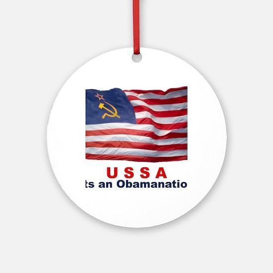 USSA-Obamanation Round Ornament