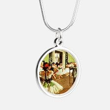 dance class calendar Silver Round Necklace