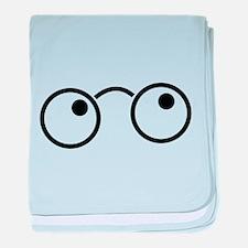 Cute nerdy boy glasses baby blanket