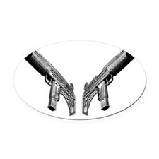 uzi2_blk Oval Car Magnet