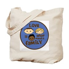 love is what makes a family blue boy copy Tote Bag