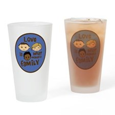 love is what makes a family blue bo Drinking Glass