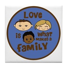 love is what makes a family blue boy  Tile Coaster