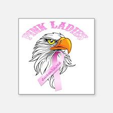 "Pink Ladies Eagle Head Square Sticker 3"" x 3"""