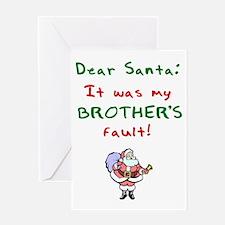dear_santa_brother_dark Greeting Card