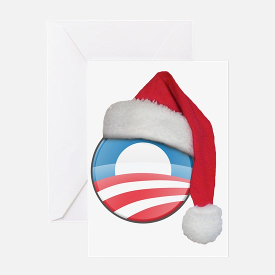 santa_hat_obama_logo_light Greeting Card