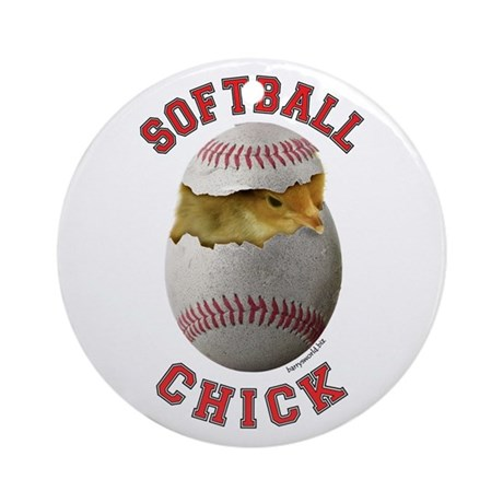 Softball Chick 2 Ornament (Round)