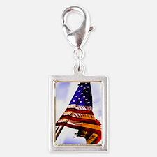 Tattered Flag Silver Portrait Charm