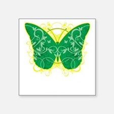 """Gastroparesis-Butterfly-blk Square Sticker 3"""" x 3"""""""