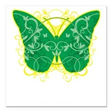 """Gastroparesis-Butterfly- Square Car Magnet 3"""" x 3"""""""