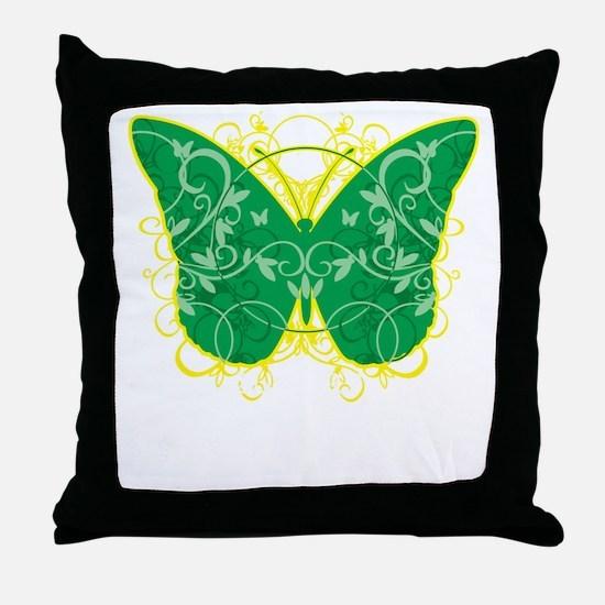 Gastroparesis-Butterfly-blk Throw Pillow