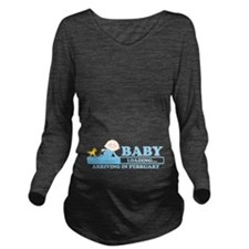 Arriving in February Long Sleeve Maternity T-Shirt