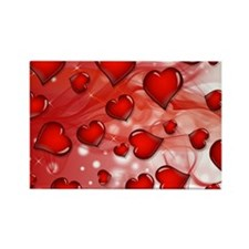 Red, Smoky Hearts Rectangle Magnet