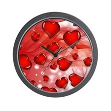 Red, Smoky Hearts Wall Clock