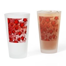 Red, Smoky Hearts Drinking Glass