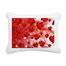 Red, Smoky Hearts Rectangular Canvas Pillow