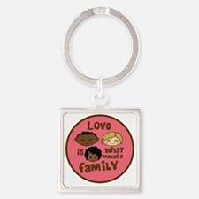 love makes biracial parents 2  gir Square Keychain