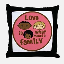 love makes biracial parents 2  girl c Throw Pillow