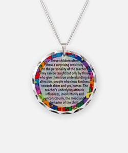 hans quote button Necklace Circle Charm