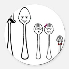 The Family Spork? Round Car Magnet