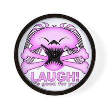 Laughing Skull Pink2 Wall Clock