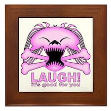 Laughing Skull Pink2 Framed Tile