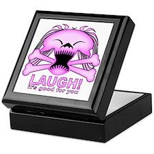Laughing Skull Pink2 Keepsake Box