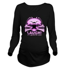 Laughing Skull Pink2 Long Sleeve Maternity T-Shirt