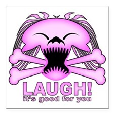 """Laughing Skull Pink2 Square Car Magnet 3"""" x 3"""""""