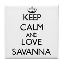 Keep Calm and Love Savanna Tile Coaster